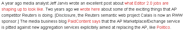 Three of the four links, in red, do not point to other RWW content.