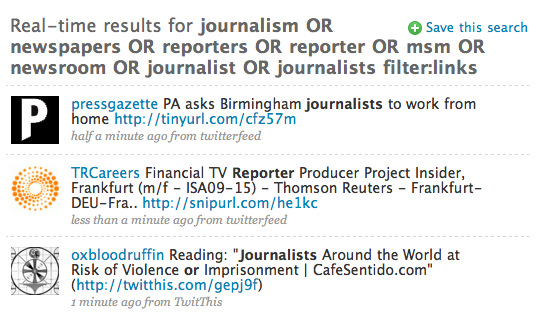 Twitter search for journalism
