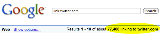 Google search results for sites linking to Twitter
