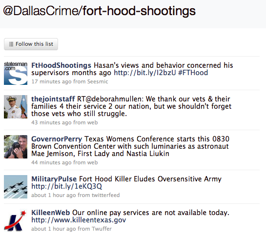Fort Hood Shootings list from @DallasCrime