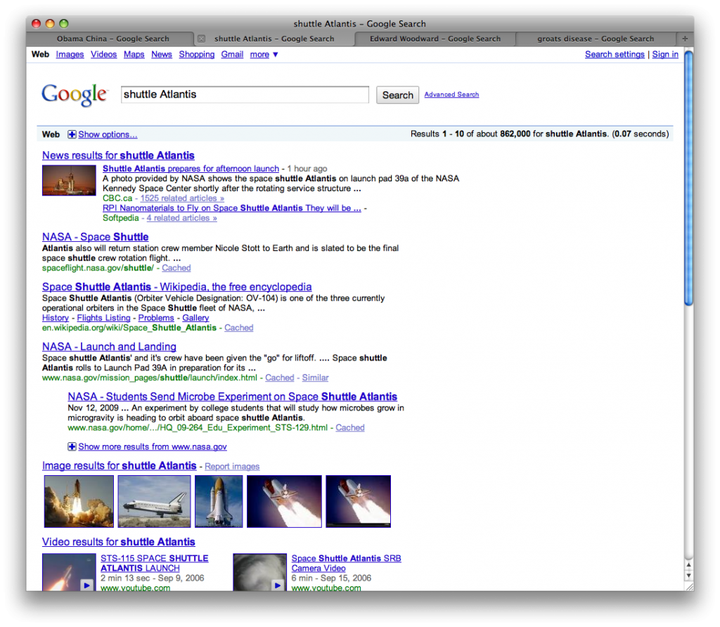 Google search results for shuttle Atlantis