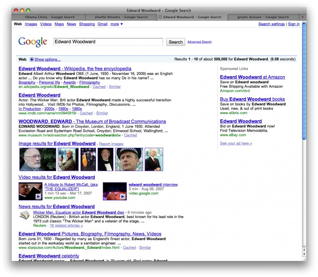 Google search results for Edward Woodward