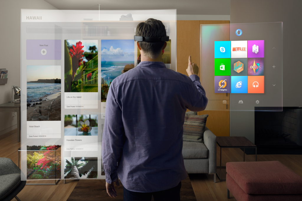 The Microsoft HoloLens blends holograms with physical reality to create a mixed world. (Image courtesy of Microsoft)