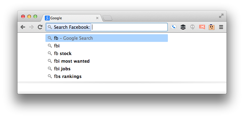 Chrome omnibox ready to search Facebook