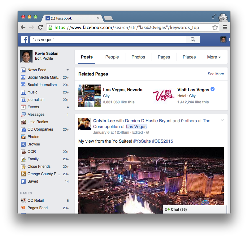 Facebook search results for Las Vegas