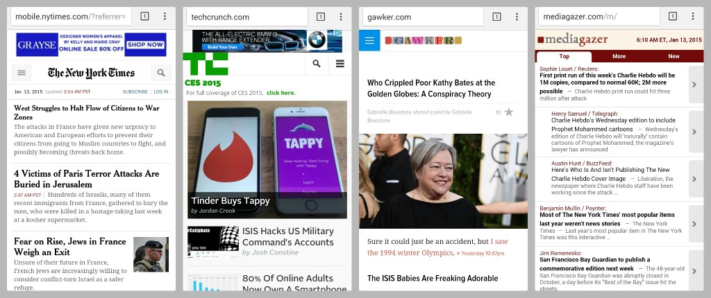screenshot of four mobile news home pages